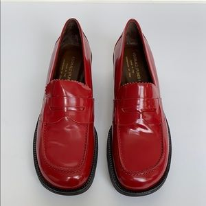 DONALD J PLINER Red Leather Platform Loafers